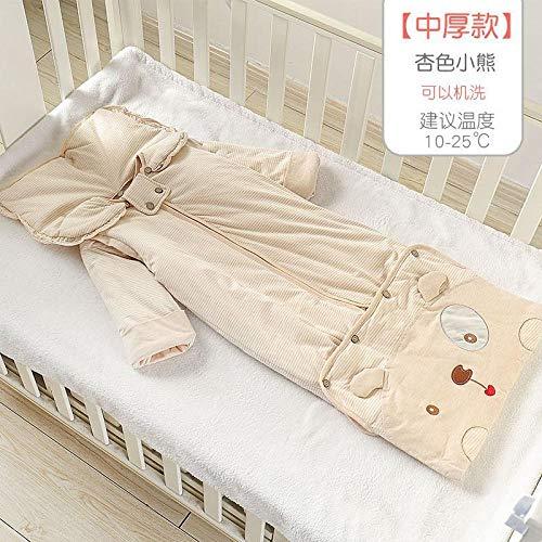 Deken katoenen slaapzak, herfst en winter baby anti-kick quilts, baby quilts-medium dikke abrikoos Bear_110 yards 0-3 jaar oud, voor 0-12 maanden baby