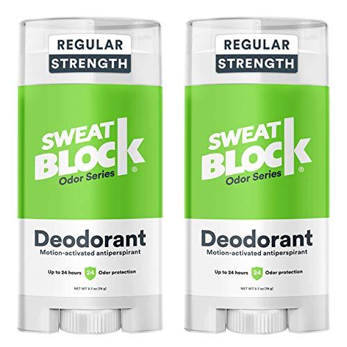 SweatBlock Deodorant Antiperspirant for Men and Women, Regular Strength, Solid (2-Pack)