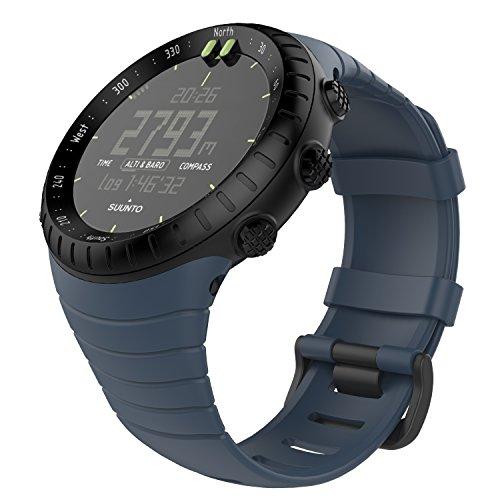 MoKo Suunto Core Watch Cinturino, Braccialetto di Ricambio in TPU Morbido con Gancio Metallico con Connettore Biella per Suunto Core Smart Watch, per Polso 5.51 -9.06  (140mm-230mm), Blu Notte
