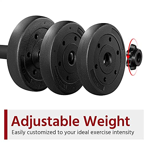 Yaheetech 2x10kg Dumbbells Adjustable Dumbbells Set Weight Set Dumbbell Hand Weight for Men and Women Home Fitness Weight Lifting Training Free Weights