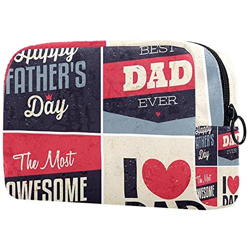 Bolsas de cosméticos para Mujer, Bolsas de Maquillaje, Estuche de Aseo Espacioso, Accesorios de Viaje, Regalos - Feliz día del Padre Vintage Super papá