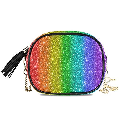 QMIN Crossbody-Tasche mit Regenbogen-Muster, kleine Handtasche Geldbörse, PU-Leder Schultertasche, Organizer mit Kettenriemen, Quasten für Frauen Mädchen Damen