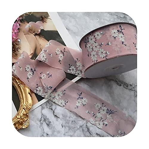Ribbons 1.5 '38Mm Floral Cinta De Gasa Cinta Hecho A Mano DIY Pelo Arco Broche Flor Tela Cinturón Accesorios Venta Al Por Mayor 25 Yards-Rosa