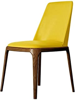 FABAX Sillas de Comedor Simple nórdicos y Cuero cómoda Silla de Comedor Ceniza de Madera del pie sólidas sillas de Madera Pie de Cocina for el hogar de la Sala sillas de salón (Color : Yellow Walnut)