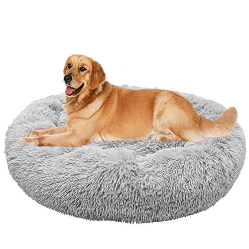 jHuanic Cama para perro, mullida, lavable, cama grande para perro, sofá de peluche, cama para cachorro, cama cálida para perros grandes y medianos (XXL, 110 cm, gris)