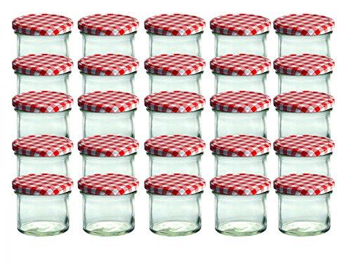 Set da 25 vasetti in vetro, per marmellate e conserve, 125 ml, coperchio avvitabile a quadretti rossi, 66 mm