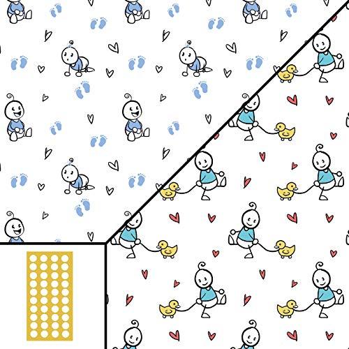 Geschenkpapier – Strichmännchen BABY BOY Junge blau und BABY UNI mintgrün doppelseitig 5 Bogen 42x59cm gefaltet 30 Klebepunkte Set für Geburt Taufe Kind Geburtstag Glückwünsche