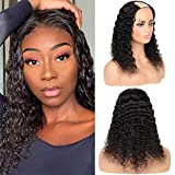 Huarisi U Parte Pelucas Pelo Humano Deep Wave Brazilian Wig 16 Inch U Part Real Hair Wigs for Black Women 100% Human Hair Wigs Upart No Lace 9a Unprocessed Deep Curls Hair Natural Colour