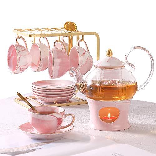 COOSKIN 21 Stück Teeservice für kleine Mädchen ab 5 Jahren, handgefertigtes Teeblumenset aus Porzellan aus rosa Marmor mit 6 Tassen/Untertassen/Löffeln, Glasteekanne mit Regal/Aufguss/Wärmer