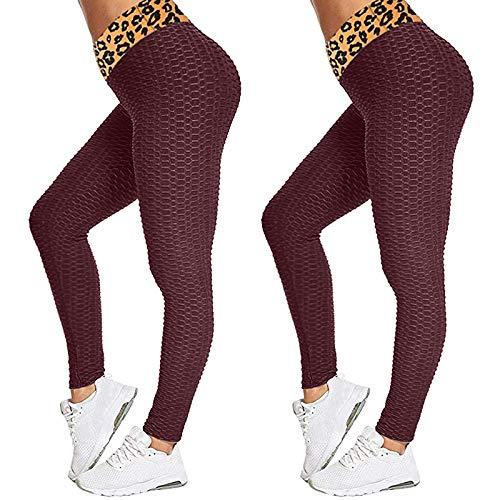 LZYCL Paquete 2 Mujeres Leopardo Cintura Alta Burbuja Polainas Pantalones De Yoga Gimnasio Deporte Mono-El Vino es Tinto L