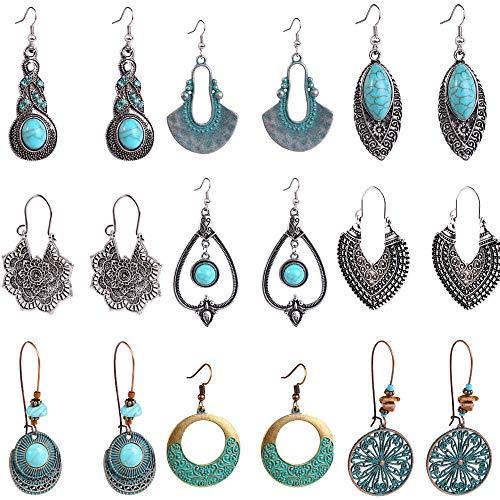XUBX 9 Pares Bohemios Pendientes Vintage Boho Pendientes Earrings para Mujer, Colgantes en Estilo Bohemio Retro, Juego de Cuelgan Los Pendientes Colgantes 9 Estilos Earrings