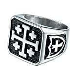 ZMY Home Mens Fashion Stainless Steel Jewelry Rings, Religion Cross Ring for Men (12)
