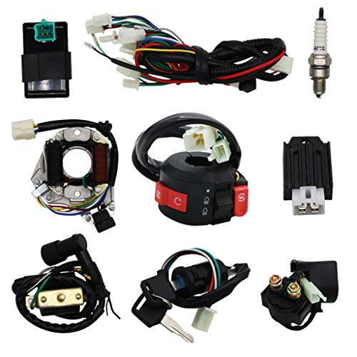 Complete Electrics Wiring Harness Stator Coil CDI Solenoid Relay Spark Plug For 4 wheelers Stroke ATV (50cc 70cc 110cc 125cc) Pit Quad Dirt Bike taotao Go Kart By OTOHANS AUTOMOTIVE