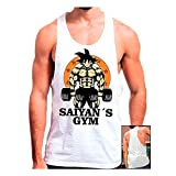 Mx Games Camiseta Gimnasio Saiyans Gym (Dragon Ball) (XL, Blanco)