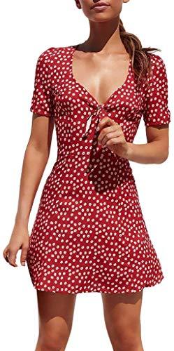 Mojoun Women Short Sleeve V Neck Polka Dot Mini Dress Tie Front Sexy Short Dress Casual Summer Beach Sundress Tunic Dress,Red,Medium