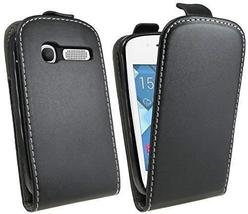 ENERGMiX Klapptasche Schutztasche kompatibel mit Alcatel One Touch Pop C1 4051D in Schwarz Tasche Hülle