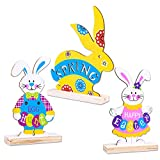 PETCEE 3 PCS Easter Table Centerpieces Decorations Happy Easter Spring Bunny Table Decor Rabbit Egg Hunt Wooden Signs for Home Indoor Outdoor Garden Yard Lawn Party Decorations