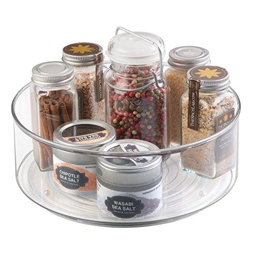 mDesign Lazy Susan Gewürzregal für Küchenschrank und Küchentisch – praktisches Küchenregal für Küchenutensilien – drehbarer Gewürzhalter aus Kunststoff – durchsichtig