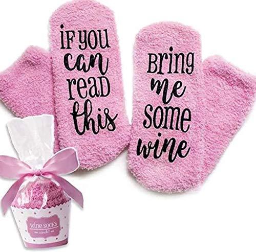 Pluizige luxe Wijn/Gin sokken met Bring Me Wijn/GIN/IF You Can Red This Bring Me Some Wine, grappige knuffelsokken, origineel cadeau voor dames en heren voor Kerstmis, één maat
