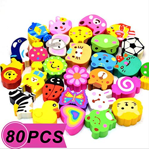 PRALB 80PCS Assorted Animals Collection Pencil Top Erasers, Adorable Animal Designs Won't Smudge Or Tear Paper,Eraser Caps Style Great for Homework, Party Favors, and Art Supplies.(2.5cm2cm1.2cm)