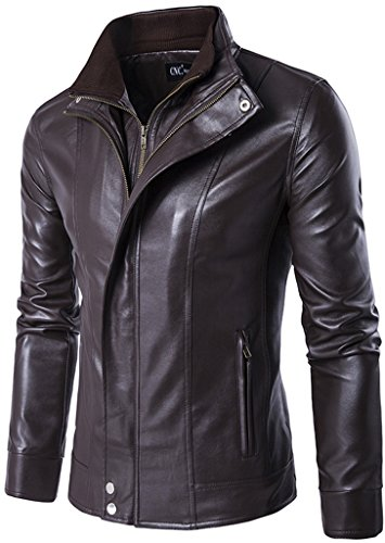 Whatlees Mens Fashion Long Sleeve Stand Collar Placket Zip Up Slim Fit Biker Faux-Leather Jacket Coat With Pockets B351-Brown-S