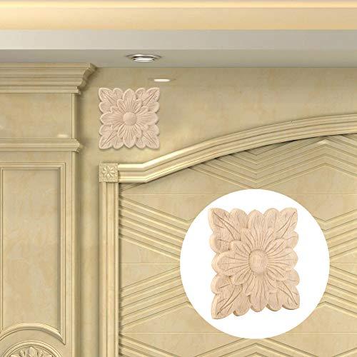 Haushaltsholzapplikation, 2 Stück Haushalts Vintage Holzschnitzerei Applikation Handwerk Möbel Türschrank Dekoration 10x10cm