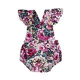 Livoral Baby Madchen Kleidung Kid Neugeborenen Baby Mädchen Print Fly Sleeve Backless Strampler Bodysuit Kleidung(Rot,70)