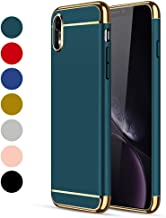 CROSYMX iPhone XR Case, 3 in 1 Ultra Thin and Slim Hard Case Coated Non Slip Matte Surface with Electroplate Frame for Apple iPhone XR (6.1'')(2018) - Dark Green
