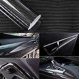 YAOBLUESEA 5D Pegatinas Carbono Vinilo de Fibra de Carbono Envoltura Adhesiva para Coche 152x50cm Negro