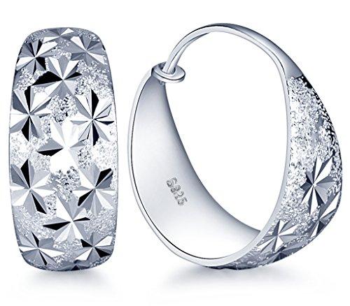 Infinite U, eleganti orecchini a cerchio in argento Sterling 925, con fiocchi di neve, per donne o ragazze e argento, colore: Silver-L, cod. b01557-L-earring