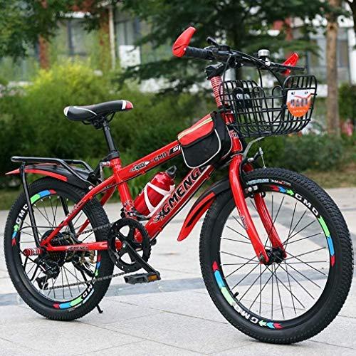 HongLianRiven BMX Kinderfahrrad, Gebirgsfahrrad, Studenten Bike, Hard Tail Bike, 20/22-Zoll-Bike, Variable Speed Bike, Scheibenbremsen Fahrrad, Anti-Rutsch-Bikes 7-20 (Color : D, Size : 22 inch)