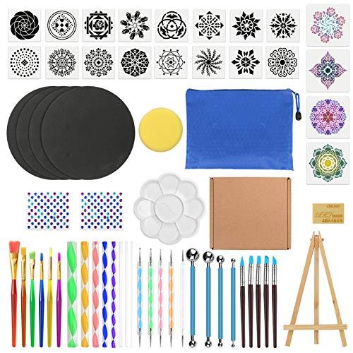 uego de 60 Piezas Mandala Dotting Tools, Herramientas de Pintura de Mandala, DIY Mandala Arte Crafts Set, Pintura de Roca Mandala Kit para Pintura en Roca, Repujado, Cerámica, Manualidades