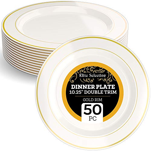 """Disposable Plastic Dinner Plates - 50 Pack Hard Round 10.25"""" Cream Plate with Elegant Gold Double Trim for Wedding, Birthday, and Party - by Elite Selection"""