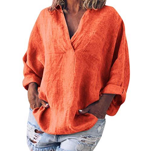 COZOCO Camisa De Gran Tamaño De Color Liso para Mujer De Algodón Y Lino De Manga Larga con Cuello En V En La Camiseta