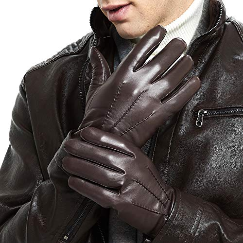 guanti pelle uomo ZLUXURQ Guanti da uomo in pelle di lusso con fodera in lana