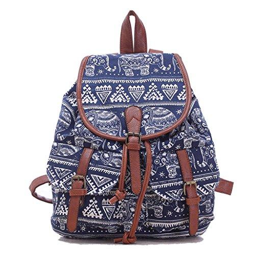 Leefrei casual Canvas Damen Herren Rucksack Daypack Backpacks Freizeitrucksack Schulrucksack Schultasche (Elefant Blau)