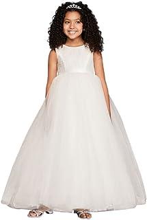 e0996023237 David s Bridal Flower Girl Communion Ball Gown Flower Girl Communion Dress  with Heart Cutout