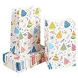 Bolsas de Papel para golosinas para Niños - Paquete de 36 bolsas de regalo de fiesta, con diseño de confeti y sombreros de fiesta, 13 cm x 22 cm x 8,3 cm