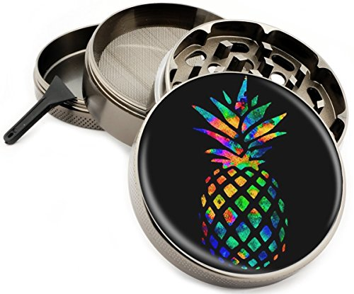 Rainbow Pineapple Colorful 4 Piece Large Silver Aluminum or Zinc Metal Herb Grinder 2.5' Diamond Cut Titanium teeth (Zinc)