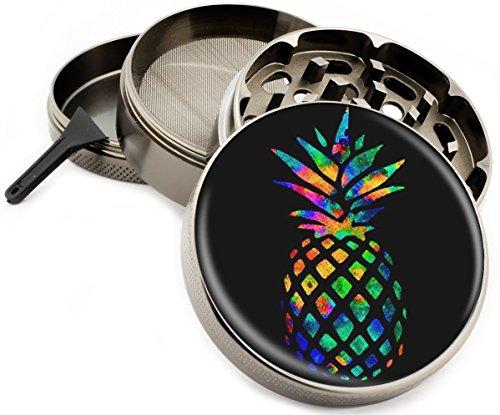 "Rainbow Pineapple Colorful 4 Piece Large Silver Aluminum or Zinc Metal Herb Grinder 2.5"" Diamond Cut Titanium teeth (Zinc)"