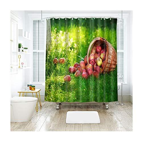 DOLOVE Badvorhang Antischimmel Duschvorhang 120x180 Rasen Apfel Duschvorhang Vintage Duschvorhang Polyester Waschbar