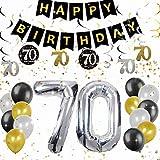 Conjunto de 18 decoraciones de la fiesta de cumpleaños de JeVenis del 70 cumpleaños Saludos a 70 años Banner 70 cumpleaños Banner 70 suministros de fiesta de cumpleaños