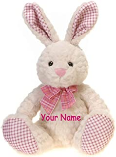 Fiesta Toys Personalized Pink Plaid Sitting Easter Bunny with Colorful Bow for Girls Plush Stuffed Animal Toy with Custom Name