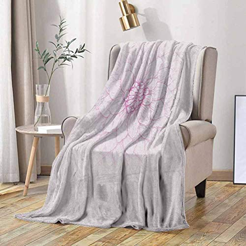 RenteriaDecor Dahlia Fleece Blanket Ghastly Appearing Dahlia Flower Close Up Sketch in Pale Purple with Magenta Petals 60x60 Inch Soft Fuzzy Plush Blanket, Luxury Flannel Lap Blanket