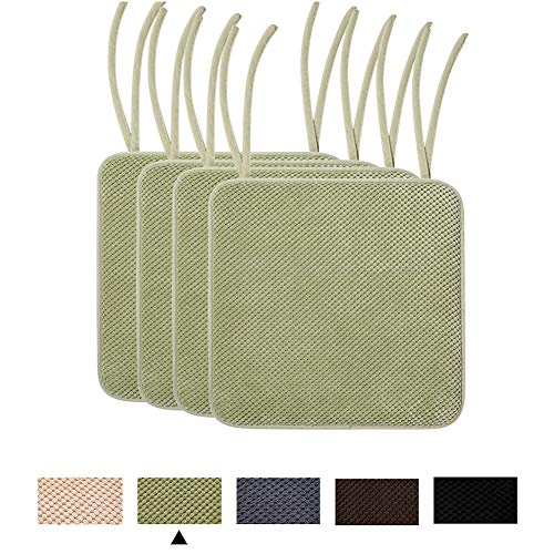 smiry Memory Foam Chair Cushion with Ties Honeycomb Pattern Chair Seat Pads Non Slip Rubber Back Rounded Square 16' x 16' Seat Cushions (4 Pack, Green)