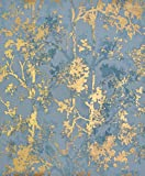 York Wallcoverings NW3581 Modern Metals Shimmering Foliage Wallpaper Blue/Gold