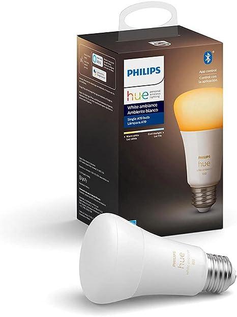 Philips Hue 548495 CFH A19 Smart Light Bulb, 1, White Ambiance