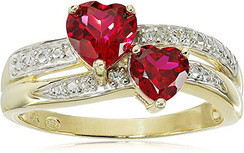 10K Yellow Gold Created Ruby Double Heart Ring with Diamond Accents (I-J Color, I2-I3 Clarity) - Size 7