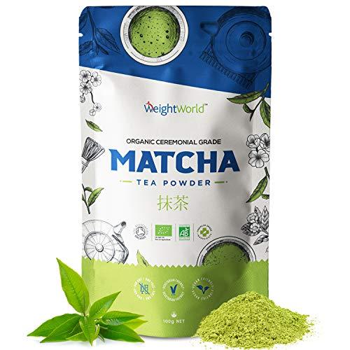 Té Matcha Orgánico Ceremonial Japones | Matcha Tea 100 gr, Polvo de Té 100% Natural, Detox Adelgazante, Aumenta Energía, Metabolismo, Potente Antioxidante Rico Vitamina A, K y E, Sin Gluten, Vegan