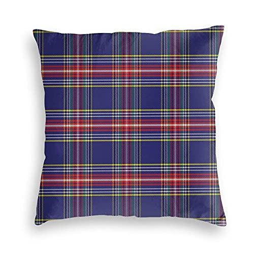 Tcerlcir Throw Pillow Covers Funda de cojín Old Fashioned Scottish Tartan Country Style con Aspecto geométrico Arreglo Abstracto para sofá, Dormitorio, Coche, 18 x 18 Pulgadas